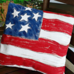 hand painted flag pillow