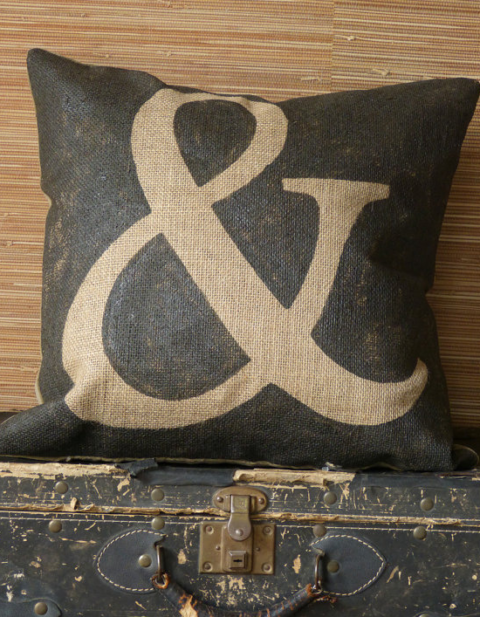 stenciled pillow