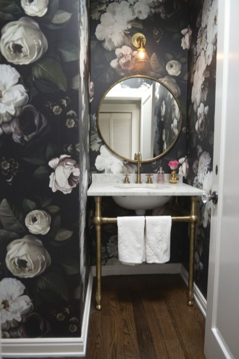 Large floral wallpaper and apothecary sink