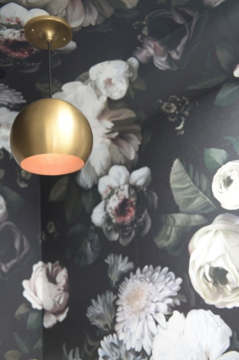 Large floral wallpaper with brass pendant.