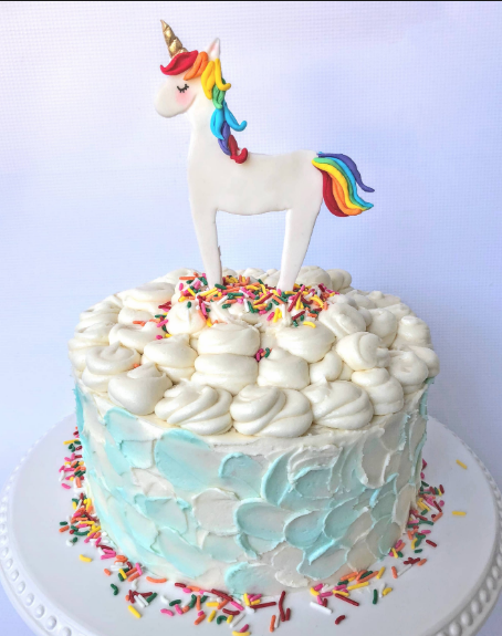 Rainbows, sprinkles, wonder woman, and unicorn cake.