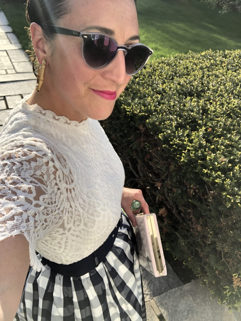 White lace top, blue and white gingham skirt