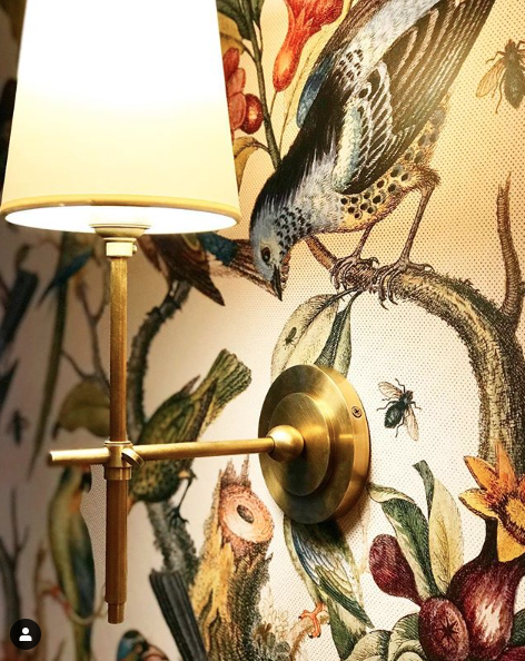 Wall Sconce with wallpaper