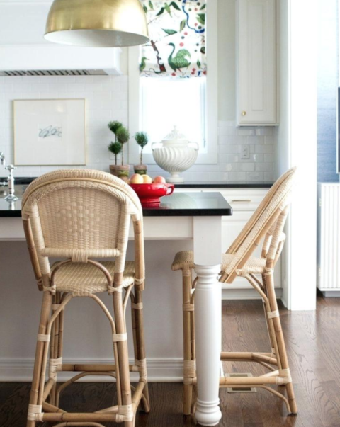 rattan bar stools around kitchen island