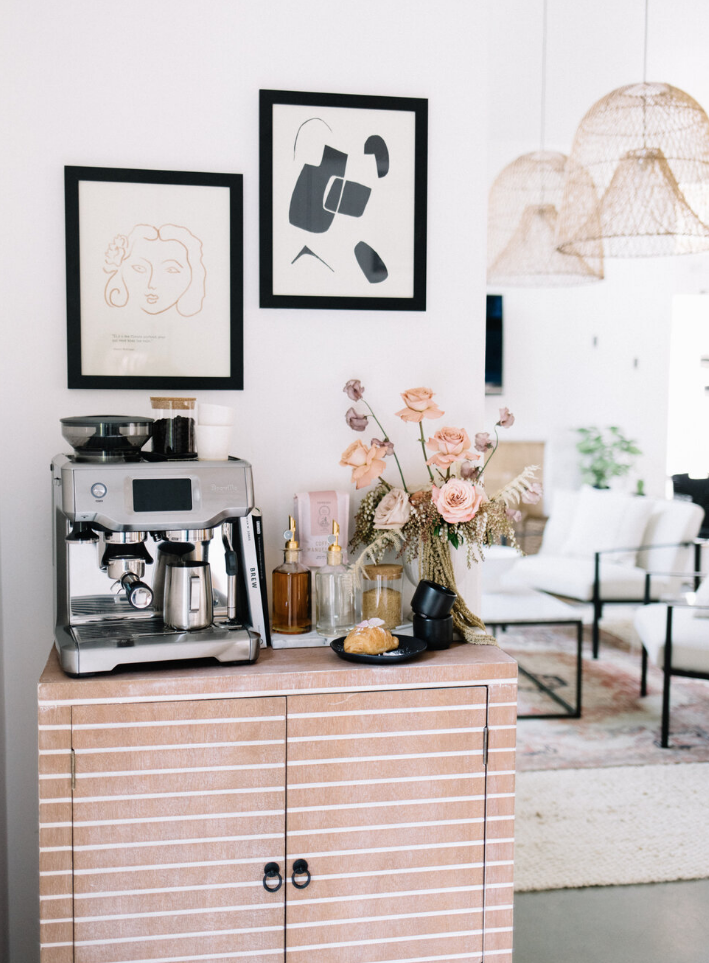 Home coffee bar using a piece of furniture