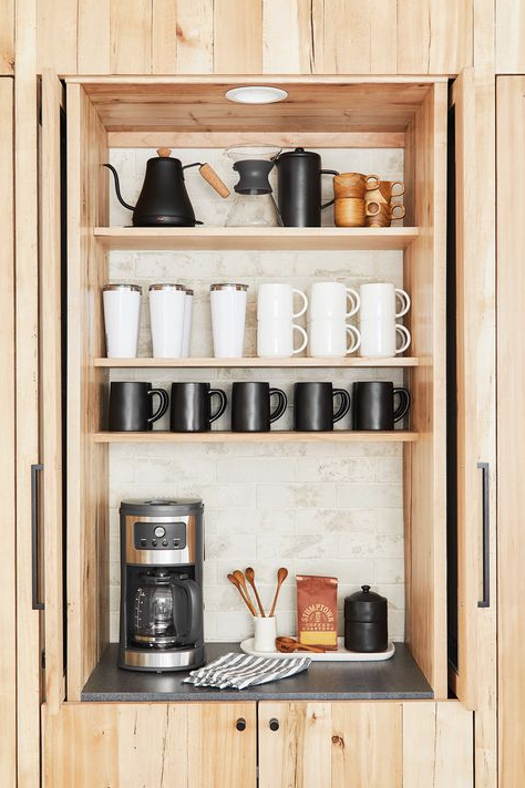 Home coffee bar using a closet