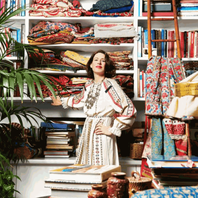 A pop of red…and lots of pattern with Nathalie Farman-Farmas