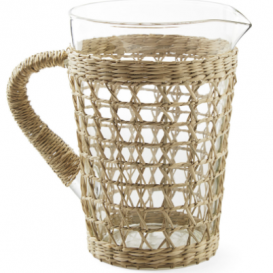 Raffia wrapped pitcher